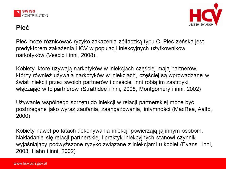www.hcv.pzh.gov.pl Płeć Płeć może różnicować ryzyko zakażenia żółtaczką typu C.