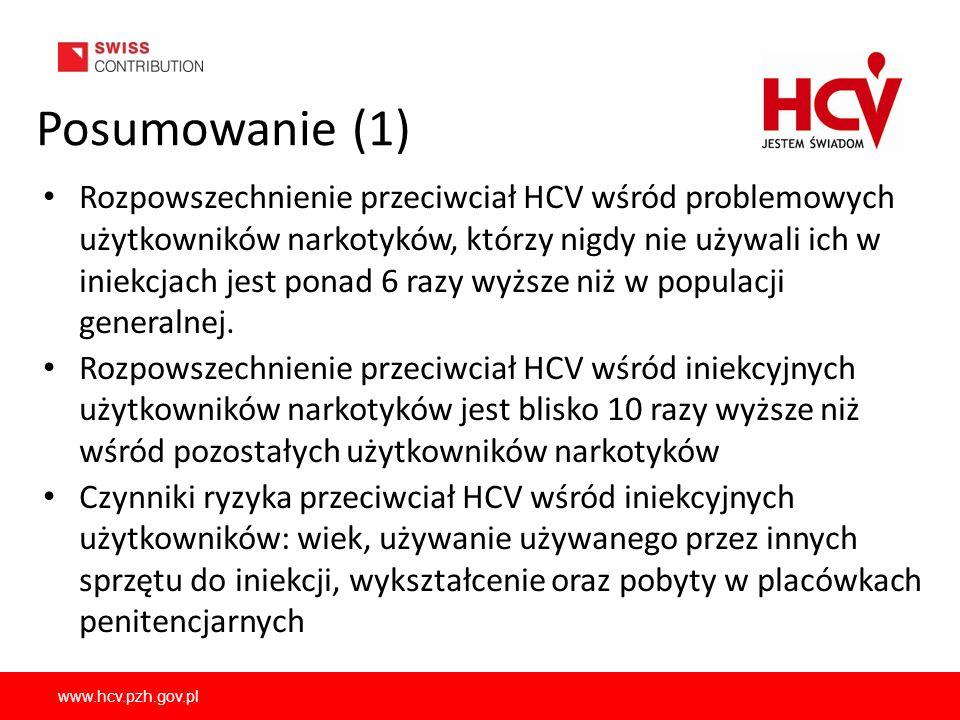 www.hcv.pzh.gov.pl Posumowanie (1) Rozpowszechnienie przeciwciał HCV wśród problemowych użytkowników narkotyków, którzy nigdy nie używali ich w iniekc