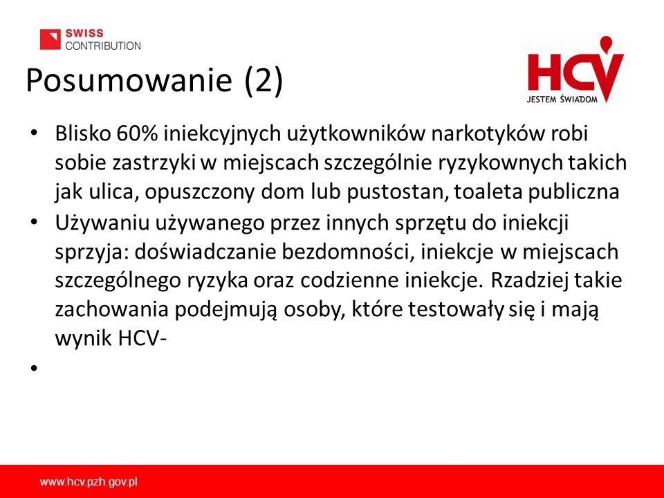 www.hcv.pzh.gov.pl Posumowanie (2) Blisko 60% iniekcyjnych użytkowników narkotyków robi sobie zastrzyki w miejscach szczególnie ryzykownych takich jak