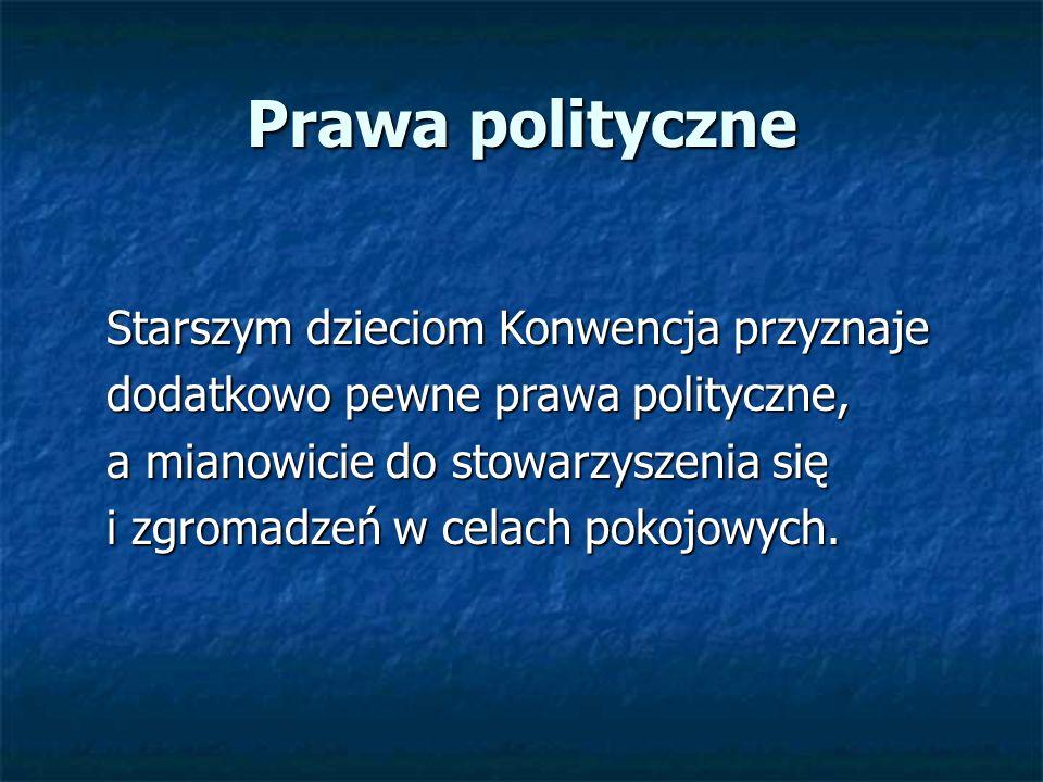 Prawa polityczne Starszym dzieciom Konwencja przyznaje Starszym dzieciom Konwencja przyznaje dodatkowo pewne prawa polityczne, dodatkowo pewne prawa p