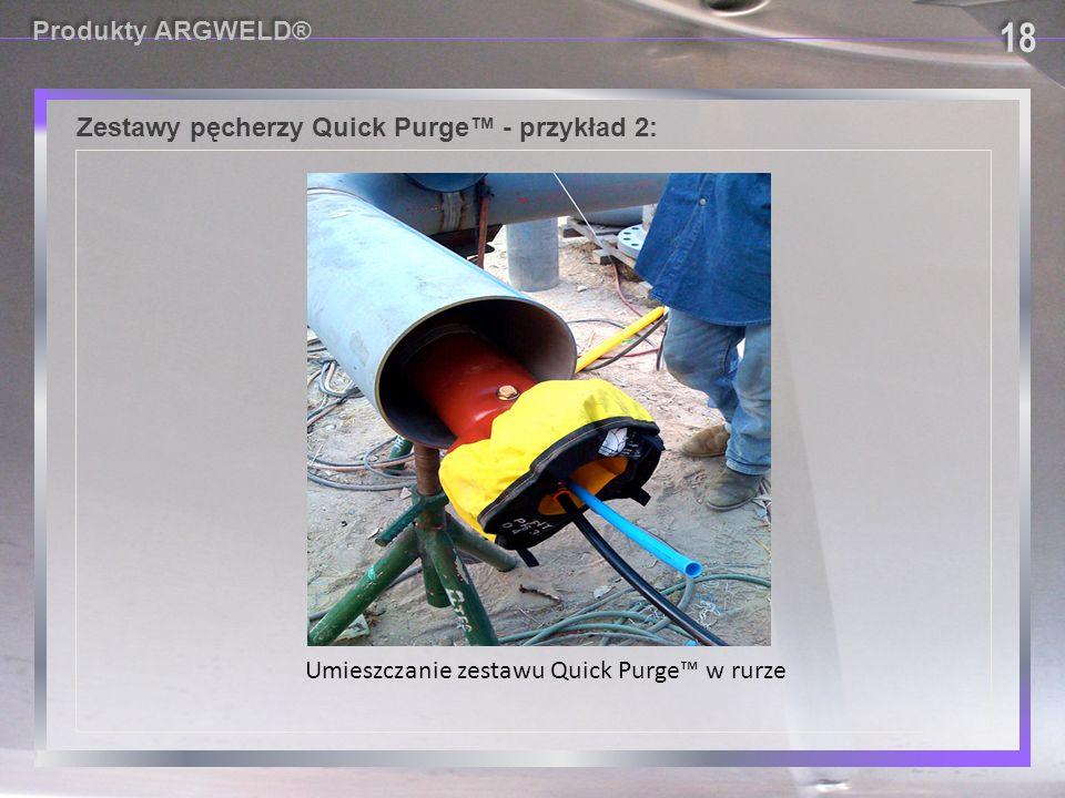 18 18 18 18 Produkty ARGWELD® Zestawy pęcherzy Quick Purge™ - przykład 2: Umieszczanie zestawu Quick Purge™ w rurze