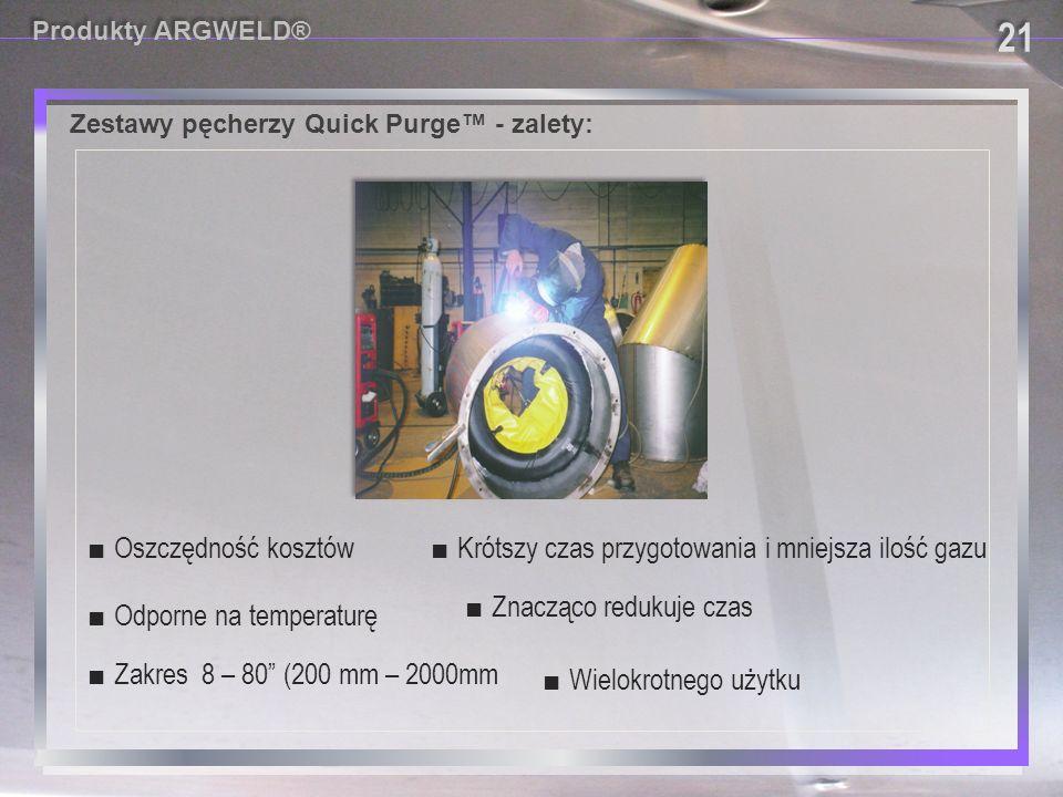 """Zestawy pęcherzy Quick Purge™ - zalety: ■ Wielokrotnego użytku ■ Zakres 8 – 80"""" (200 mm – 2000mm ■ Krótszy czas przygotowania i mniejsza ilość gazu ■"""