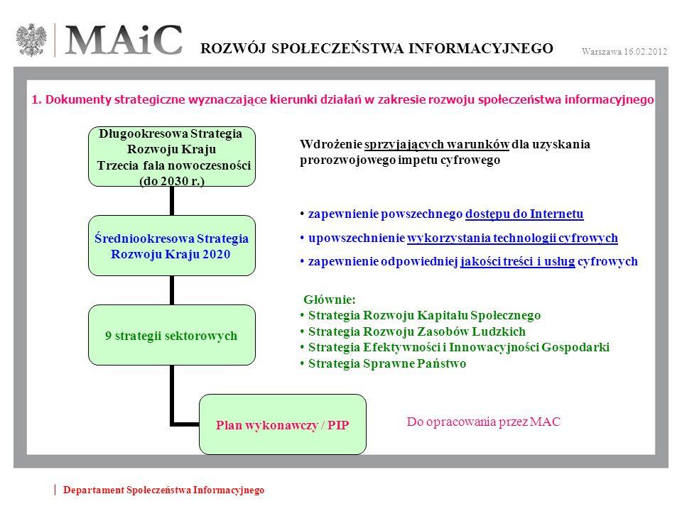 Departament Społeczeństwa Informacyjnego ROZWÓJ SPOŁECZEŃSTWA INFORMACYJNEGO Warszawa 16.02.2012 1.