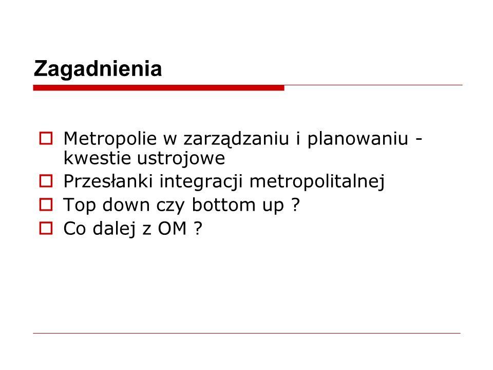 Zagadnienia  Metropolie w zarządzaniu i planowaniu - kwestie ustrojowe  Przesłanki integracji metropolitalnej  Top down czy bottom up .
