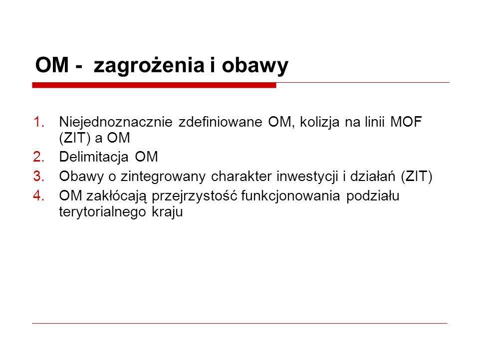 OM - zagrożenia i obawy 1.Niejednoznacznie zdefiniowane OM, kolizja na linii MOF (ZIT) a OM 2.Delimitacja OM 3.Obawy o zintegrowany charakter inwestycji i działań (ZIT) 4.OM zakłócają przejrzystość funkcjonowania podziału terytorialnego kraju