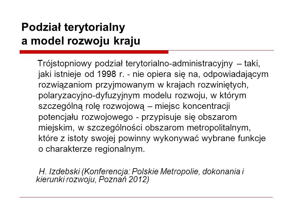 Podział terytorialny a model rozwoju kraju Trójstopniowy podział terytorialno-administracyjny – taki, jaki istnieje od 1998 r.