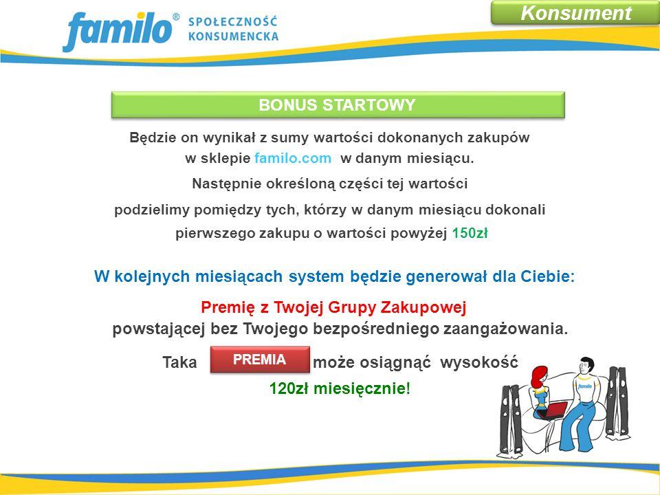 BONUS STARTOWY – za pierwszy zakup Będzie on wynikał z sumy wartości dokonanych zakupów w sklepie familo.com w danym miesiącu.