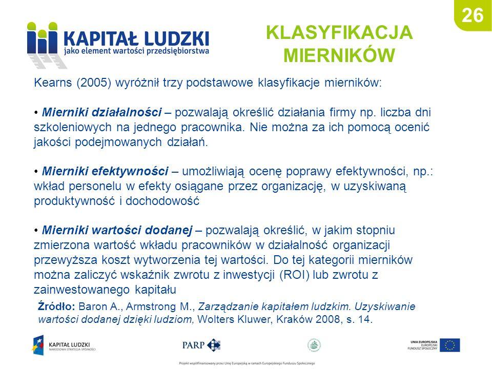 26 KLASYFIKACJA MIERNIKÓW Kearns (2005) wyróżnił trzy podstawowe klasyfikacje mierników: Mierniki działalności – pozwalają określić działania firmy np