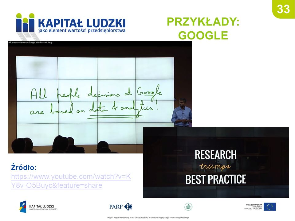 33 PRZYKŁADY: GOOGLE Źródło: https://www.youtube.com/watch?v=K Y8v-O5Buyc&feature=share https://www.youtube.com/watch?v=K Y8v-O5Buyc&feature=share