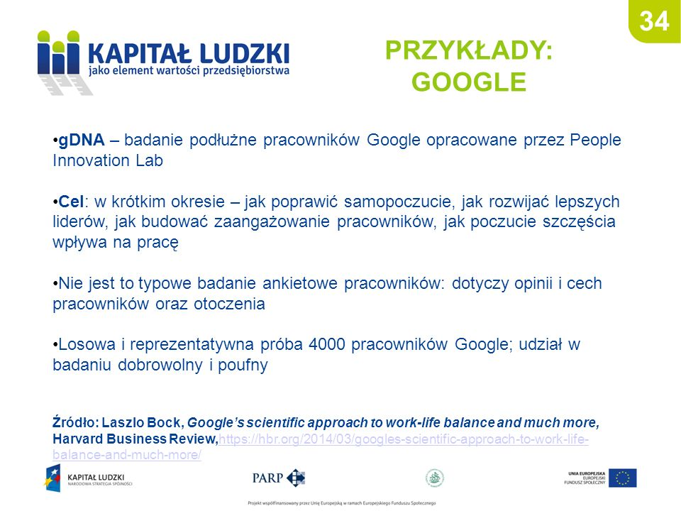34 PRZYKŁADY: GOOGLE Źródło: Laszlo Bock, Google's scientific approach to work-life balance and much more, Harvard Business Review,https://hbr.org/201