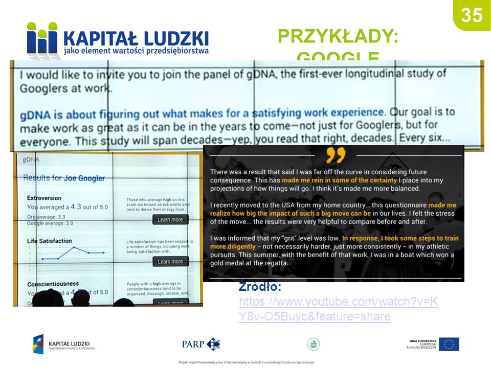 35 PRZYKŁADY: GOOGLE Źródło: https://www.youtube.com/watch?v=K Y8v-O5Buyc&feature=share https://www.youtube.com/watch?v=K Y8v-O5Buyc&feature=share