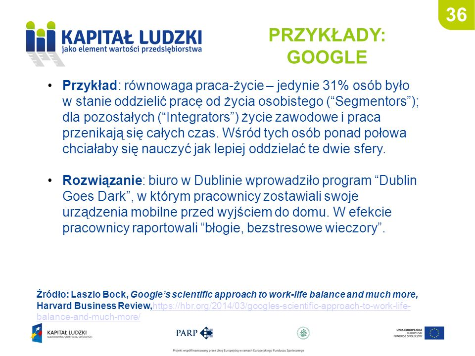 36 PRZYKŁADY: GOOGLE Źródło: Laszlo Bock, Google's scientific approach to work-life balance and much more, Harvard Business Review,https://hbr.org/201