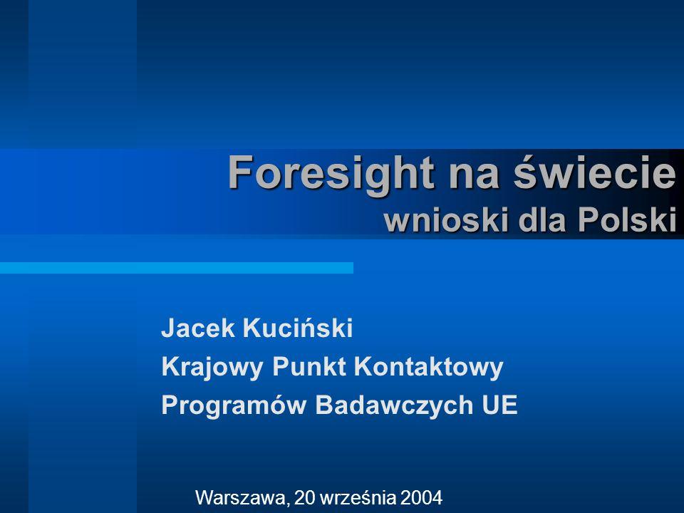 Jacek Kuciński Krajowy Punkt Kontaktowy Programów Badawczych UE Warszawa, 20 września 2004 Foresight na świecie wnioski dla Polski