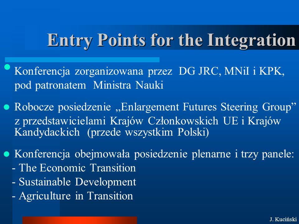 """Entry Points for the Integration Konferencja zorganizowana przez DG JRC, MNiI i KPK, pod patronatem Ministra Nauki Robocze posiedzenie """"Enlargement Futures Steering Group z przedstawicielami Krajów Członkowskich UE i Krajów Kandydackich (przede wszystkim Polski) Konferencja obejmowała posiedzenie plenarne i trzy panele: - The Economic Transition - Sustainable Development - Agriculture in Transition J."""