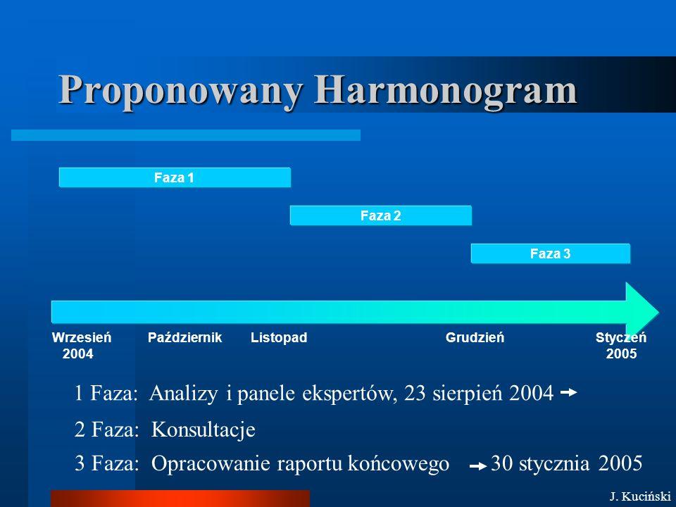Proponowany Harmonogram Faza 1 Faza 2 Faza 3 Wrzesień 2004 PaździernikListopadGrudzieńStyczeń 2005 1 Faza: Analizy i panele ekspertów, 23 sierpień 2004 2 Faza: Konsultacje 3 Faza: Opracowanie raportu końcowego 30 stycznia 2005 J.