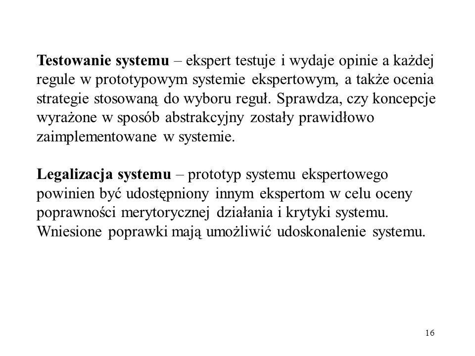16 Testowanie systemu – ekspert testuje i wydaje opinie a każdej regule w prototypowym systemie ekspertowym, a także ocenia strategie stosowaną do wyb