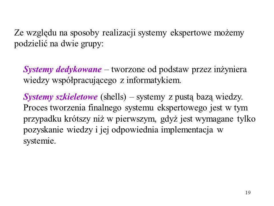 19 Ze względu na sposoby realizacji systemy ekspertowe możemy podzielić na dwie grupy: Systemy dedykowane – tworzone od podstaw przez inżyniera wiedzy