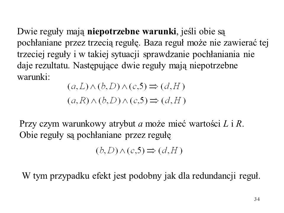 34 Dwie reguły mają niepotrzebne warunki, jeśli obie są pochłaniane przez trzecią regułę. Baza reguł może nie zawierać tej trzeciej reguły i w takiej