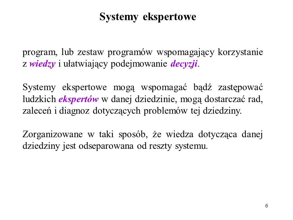 17 Kategorie systemów ekspertowych: Systemy doradcze – prezentują rozwiązania dla użytkownika, który jest w stanie ocenić ich jakość.