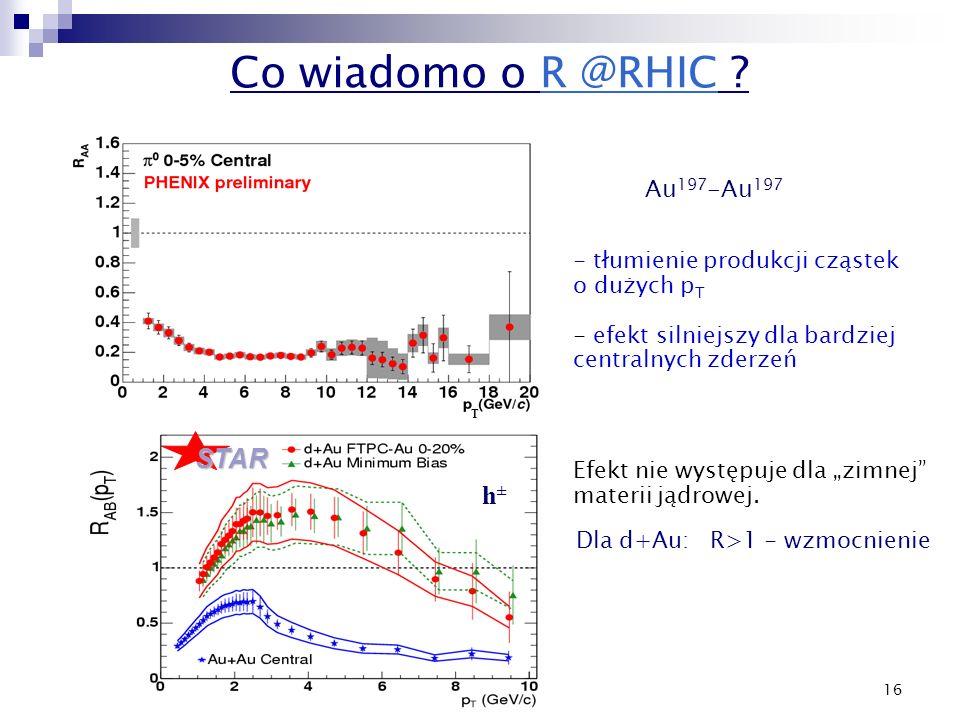 16 - tłumienie produkcji cząstek o dużych p T - efekt silniejszy dla bardziej centralnych zderzeń T Co wiadomo o R @RHIC ? Au 197 -Au 197 STAR Dla d+A