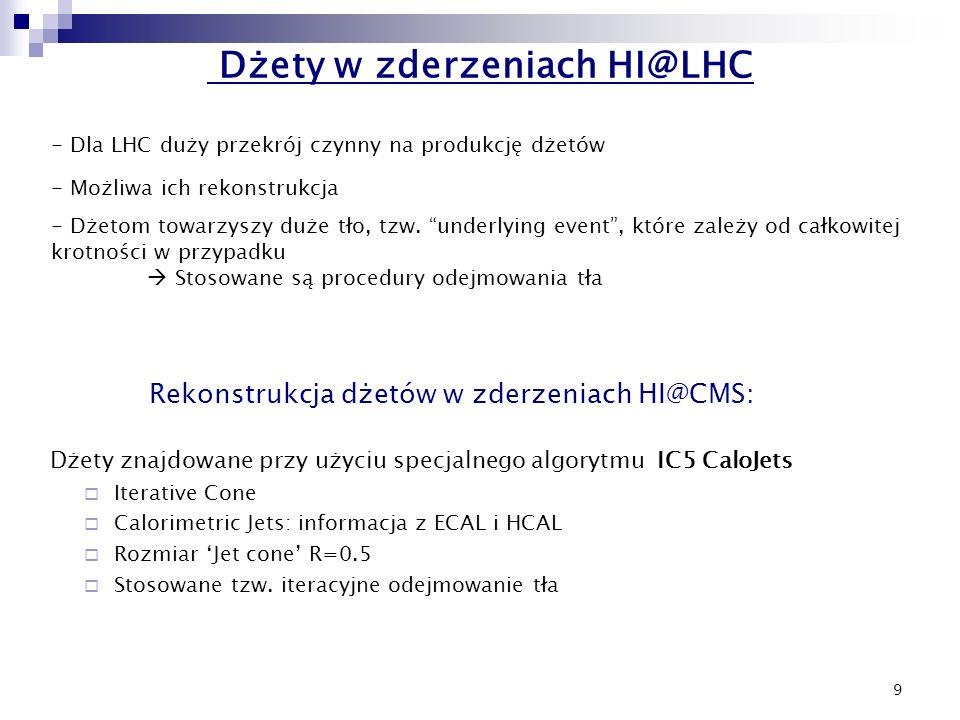 """9 Dżety w zderzeniach HI@LHC - Dla LHC duży przekrój czynny na produkcję dżetów - Możliwa ich rekonstrukcja - Dżetom towarzyszy duże tło, tzw. """"underl"""