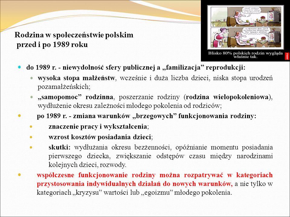 """Rodzina w społeczeństwie polskim przed i po 1989 roku do 1989 r. - niewydolność sfery publicznej a """"familizacja"""" reprodukcji: wysoka stopa małżeństw,"""