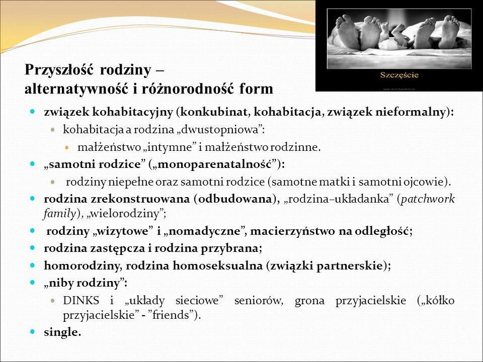 """Przyszłość rodziny – alternatywność i różnorodność form związek kohabitacyjny (konkubinat, kohabitacja, związek nieformalny): kohabitacja a rodzina """"d"""