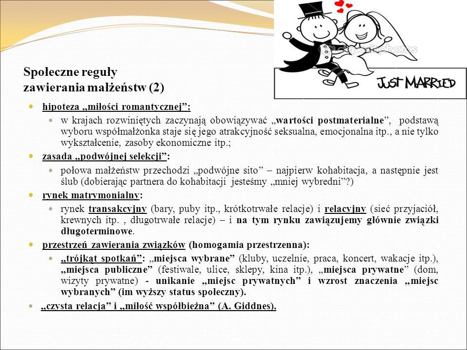 """Społeczne reguły zawierania małżeństw (2) hipoteza """"miłości romantycznej"""": w krajach rozwiniętych zaczynają obowiązywać """"wartości postmaterialne"""", pod"""
