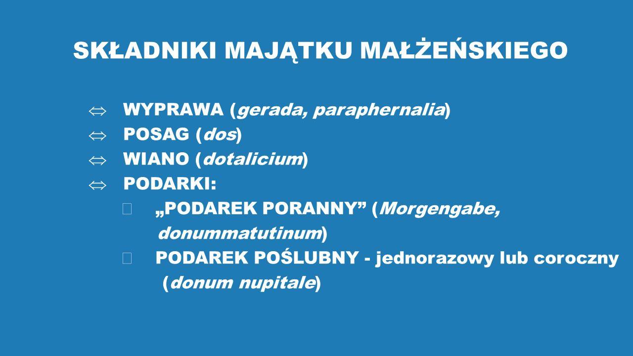 """SKŁADNIKI MAJĄTKU MAŁŻEŃSKIEGO  WYPRAWA (gerada, paraphernalia)  POSAG (dos)  WIANO (dotalicium)  PODARKI:  """"PODAREK PORANNY (Morgengabe, donummatutinum)  PODAREK POŚLUBNY - jednorazowy lub coroczny (donum nupitale)"""