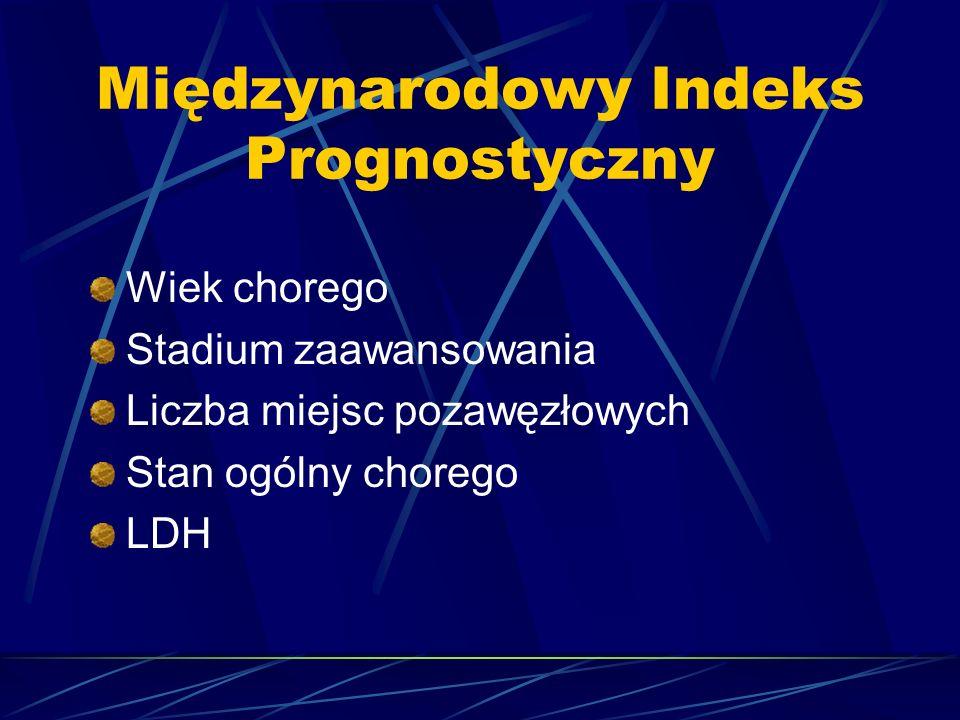 Międzynarodowy Indeks Prognostyczny Wiek chorego Stadium zaawansowania Liczba miejsc pozawęzłowych Stan ogólny chorego LDH