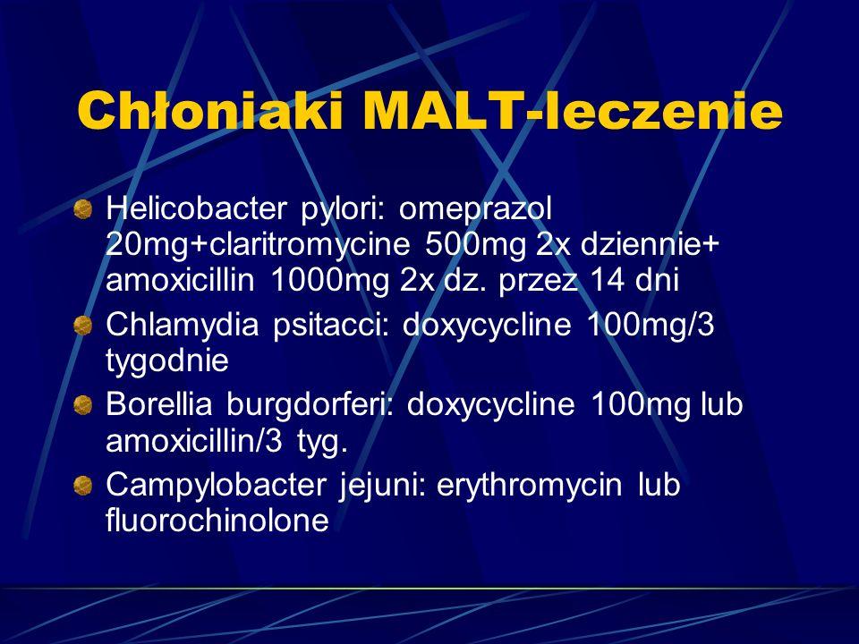 Chłoniaki MALT-leczenie Helicobacter pylori: omeprazol 20mg+claritromycine 500mg 2x dziennie+ amoxicillin 1000mg 2x dz.
