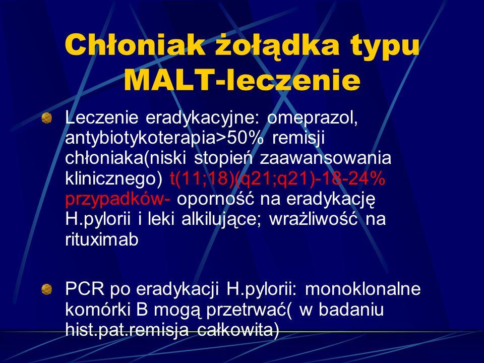 Chłoniak żołądka typu MALT-leczenie Leczenie eradykacyjne: omeprazol, antybiotykoterapia>50% remisji chłoniaka(niski stopień zaawansowania klinicznego) t(11;18)(q21;q21)-18-24% przypadków- oporność na eradykację H.pylorii i leki alkilujące; wrażliwość na rituximab PCR po eradykacji H.pylorii: monoklonalne komórki B mogą przetrwać( w badaniu hist.pat.remisja całkowita)
