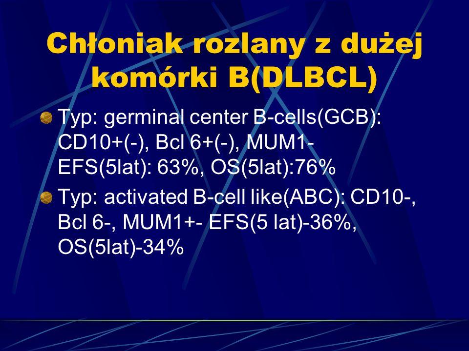 Chłoniak rozlany z dużej komórki B(DLBCL) Typ: germinal center B-cells(GCB): CD10+(-), Bcl 6+(-), MUM1- EFS(5lat): 63%, OS(5lat):76% Typ: activated B-cell like(ABC): CD10-, Bcl 6-, MUM1+- EFS(5 lat)-36%, OS(5lat)-34%
