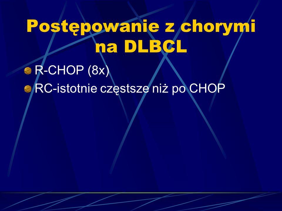 Postępowanie z chorymi na DLBCL R-CHOP (8x) RC-istotnie częstsze niż po CHOP