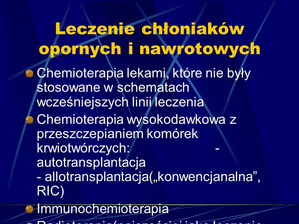 """Leczenie chłoniaków opornych i nawrotowych Chemioterapia lekami, które nie były stosowane w schematach wcześniejszych linii leczenia Chemioterapia wysokodawkowa z przeszczepianiem komórek krwiotwórczych: - autotransplantacja - allotransplantacja(""""konwencjanalna , RIC) Immunochemioterapia Radioterapia(najczęściej jako leczenie uzupełniające)"""