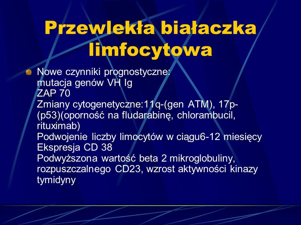 Przewlekła białaczka limfocytowa Nowe czynniki prognostyczne: mutacja genów VH Ig ZAP 70 Zmiany cytogenetyczne:11q-(gen ATM), 17p- (p53)(oporność na fludarabinę, chlorambucil, rituximab) Podwojenie liczby limocytów w ciągu6-12 miesięcy Ekspresja CD 38 Podwyższona wartość beta 2 mikroglobuliny, rozpuszczalnego CD23, wzrost aktywności kinazy tymidyny