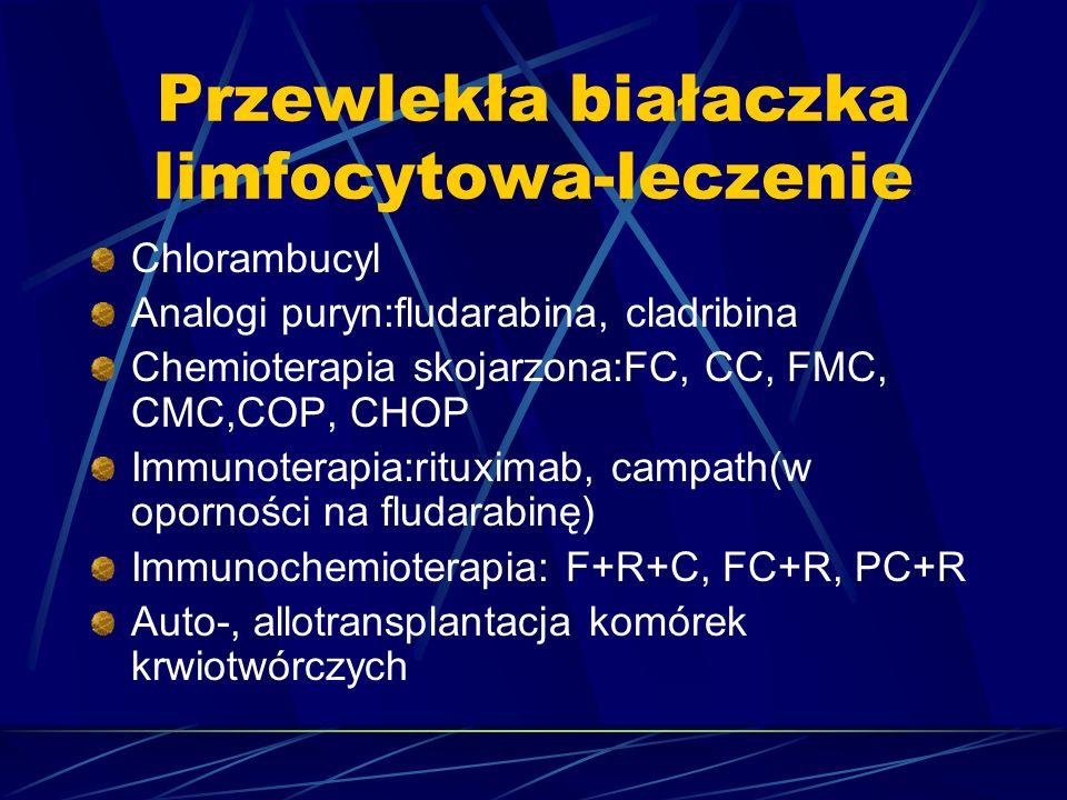 Przewlekła białaczka limfocytowa-leczenie Chlorambucyl Analogi puryn:fludarabina, cladribina Chemioterapia skojarzona:FC, CC, FMC, CMC,COP, CHOP Immunoterapia:rituximab, campath(w oporności na fludarabinę) Immunochemioterapia: F+R+C, FC+R, PC+R Auto-, allotransplantacja komórek krwiotwórczych