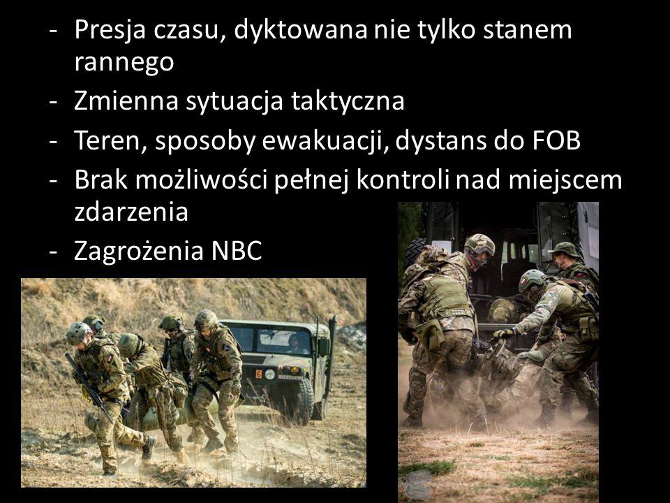 -Presja czasu, dyktowana nie tylko stanem rannego -Zmienna sytuacja taktyczna -Teren, sposoby ewakuacji, dystans do FOB -Brak możliwości pełnej kontroli nad miejscem zdarzenia -Zagrożenia NBC