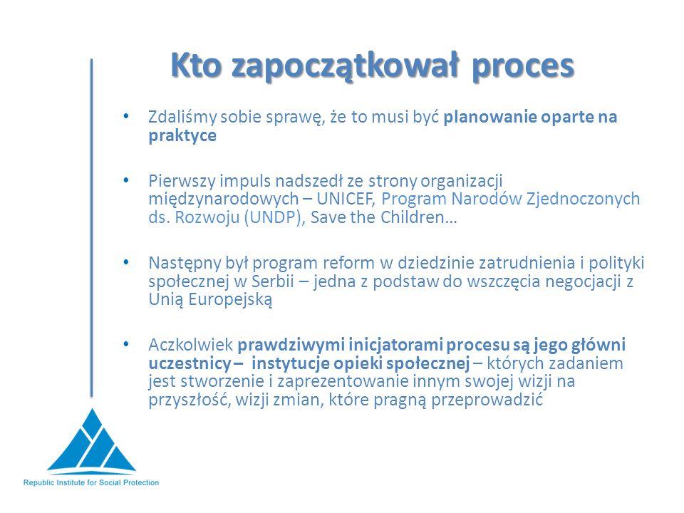 Kto zapoczątkował proces Zdaliśmy sobie sprawę, że to musi być planowanie oparte na praktyce Pierwszy impuls nadszedł ze strony organizacji międzynarodowych – UNICEF, Program Narodów Zjednoczonych ds.
