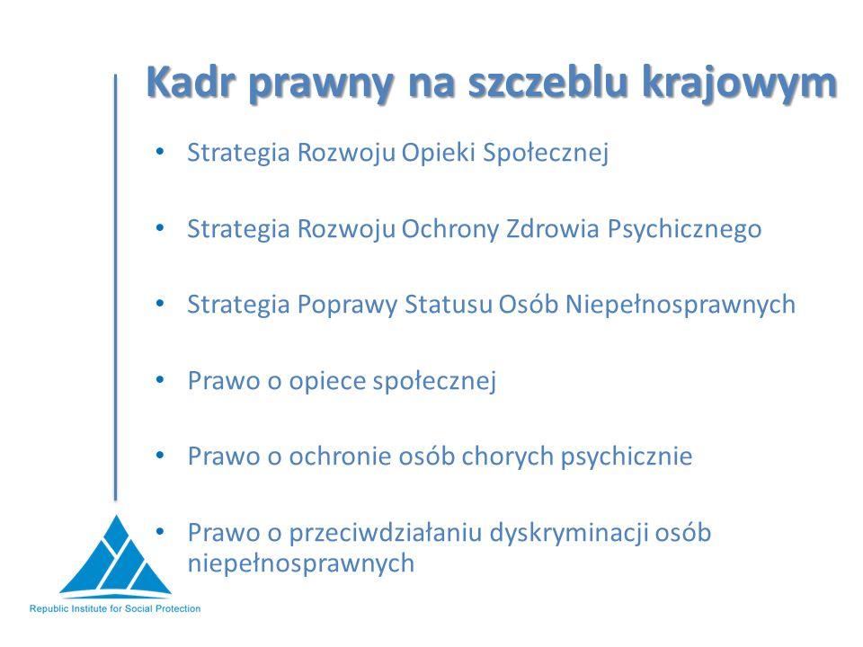 Kadr prawny na szczeblu krajowym Strategia Rozwoju Opieki Społecznej Strategia Rozwoju Ochrony Zdrowia Psychicznego Strategia Poprawy Statusu Osób Niepełnosprawnych Prawo o opiece społecznej Prawo o ochronie osób chorych psychicznie Prawo o przeciwdziałaniu dyskryminacji osób niepełnosprawnych