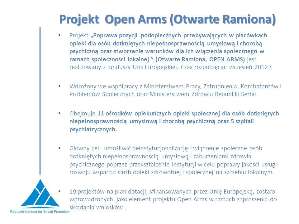 """Projekt Open Arms (Otwarte Ramiona) Projekt """"Poprawa pozycji podopiecznych przebywających w placówkach opieki dla osób dotkniętych niepełnosprawnością umysłową i chorobą psychiczną oraz stworzenie warunków dla ich włączenia społecznego w ramach społeczności lokalnej (Otwarte Ramiona, OPEN ARMS) jest realizowany z funduszy Unii Europejskiej."""