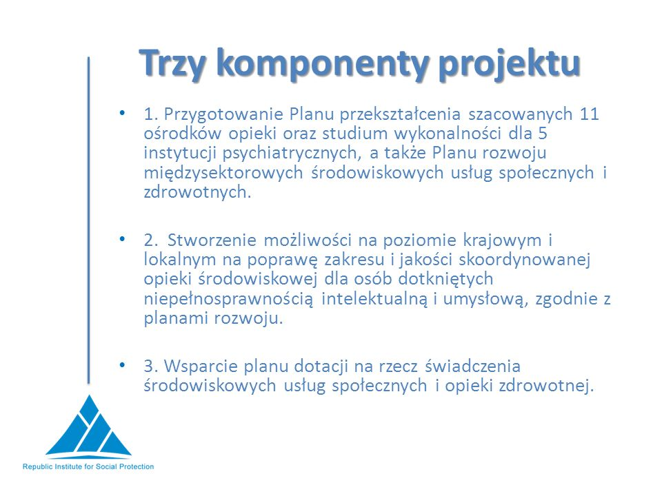 Trzy komponenty projektu 1.
