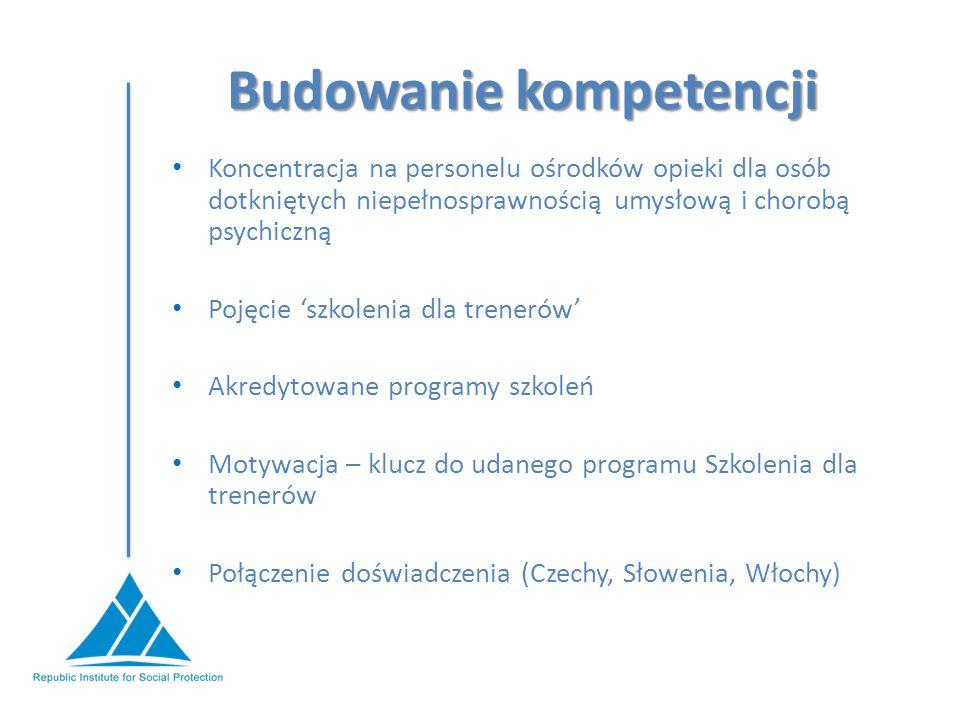 Budowanie kompetencji Koncentracja na personelu ośrodków opieki dla osób dotkniętych niepełnosprawnością umysłową i chorobą psychiczną Pojęcie 'szkolenia dla trenerów' Akredytowane programy szkoleń Motywacja – klucz do udanego programu Szkolenia dla trenerów Połączenie doświadczenia (Czechy, Słowenia, Włochy)