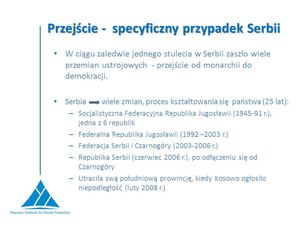 Przejście - specyficzny przypadek Serbii W ciągu zaledwie jednego stulecia w Serbii zaszło wiele przemian ustrojowych - przejście od monarchii do demokracji.