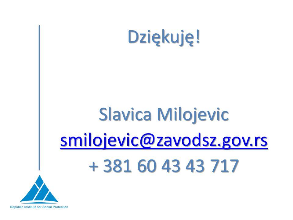 Dziękuję! Slavica Milojevic smilojevic@zavodsz.gov.rs + 381 60 43 43 717