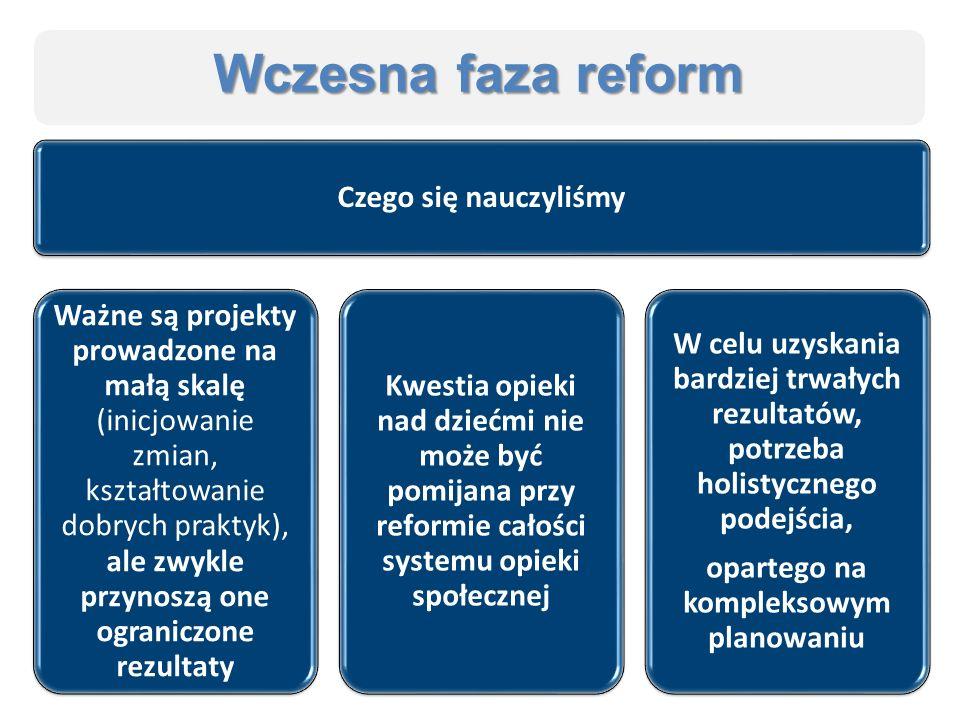 Wczesna faza reform Czego się nauczyliśmy Ważne są projekty prowadzone na małą skalę (inicjowanie zmian, kształtowanie dobrych praktyk), ale zwykle przynoszą one ograniczone rezultaty Kwestia opieki nad dziećmi nie może być pomijana przy reformie całości systemu opieki społecznej W celu uzyskania bardziej trwałych rezultatów, potrzeba holistycznego podejścia, opartego na kompleksowym planowaniu