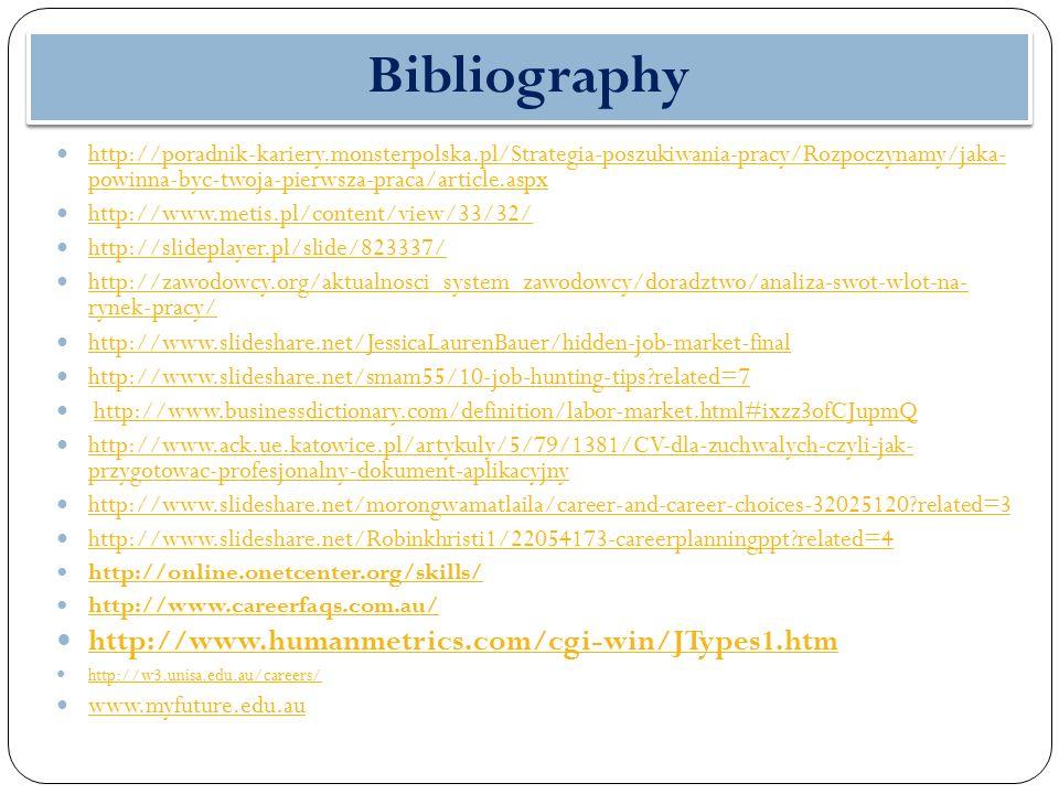 Bibliography http://poradnik-kariery.monsterpolska.pl/Strategia-poszukiwania-pracy/Rozpoczynamy/jaka- powinna-byc-twoja-pierwsza-praca/article.aspx http://poradnik-kariery.monsterpolska.pl/Strategia-poszukiwania-pracy/Rozpoczynamy/jaka- powinna-byc-twoja-pierwsza-praca/article.aspx http://www.metis.pl/content/view/33/32/ http://slideplayer.pl/slide/823337/ http://zawodowcy.org/aktualnosci_system_zawodowcy/doradztwo/analiza-swot-wlot-na- rynek-pracy/ http://zawodowcy.org/aktualnosci_system_zawodowcy/doradztwo/analiza-swot-wlot-na- rynek-pracy/ http://www.slideshare.net/JessicaLaurenBauer/hidden-job-market-final http://www.slideshare.net/smam55/10-job-hunting-tips?related=7 http://www.businessdictionary.com/definition/labor-market.html#ixzz3ofCJupmQ http://www.ack.ue.katowice.pl/artykuly/5/79/1381/CV-dla-zuchwalych-czyli-jak- przygotowac-profesjonalny-dokument-aplikacyjny http://www.ack.ue.katowice.pl/artykuly/5/79/1381/CV-dla-zuchwalych-czyli-jak- przygotowac-profesjonalny-dokument-aplikacyjny http://www.slideshare.net/morongwamatlaila/career-and-career-choices-32025120?related=3 http://www.slideshare.net/Robinkhristi1/22054173-careerplanningppt?related=4 http://online.onetcenter.org/skills/ http://www.careerfaqs.com.au/ http://www.humanmetrics.com/cgi-win/JTypes1.htm http://w3.unisa.edu.au/careers/ www.myfuture.edu.au