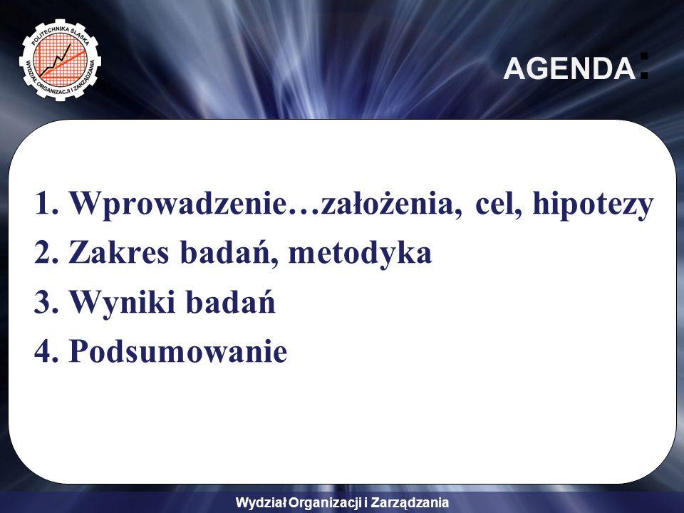 Wydział Organizacji i Zarządzania AGENDA : 1.Wprowadzenie…założenia, cel, hipotezy 2.Zakres badań, metodyka 3.Wyniki badań 4.Podsumowanie