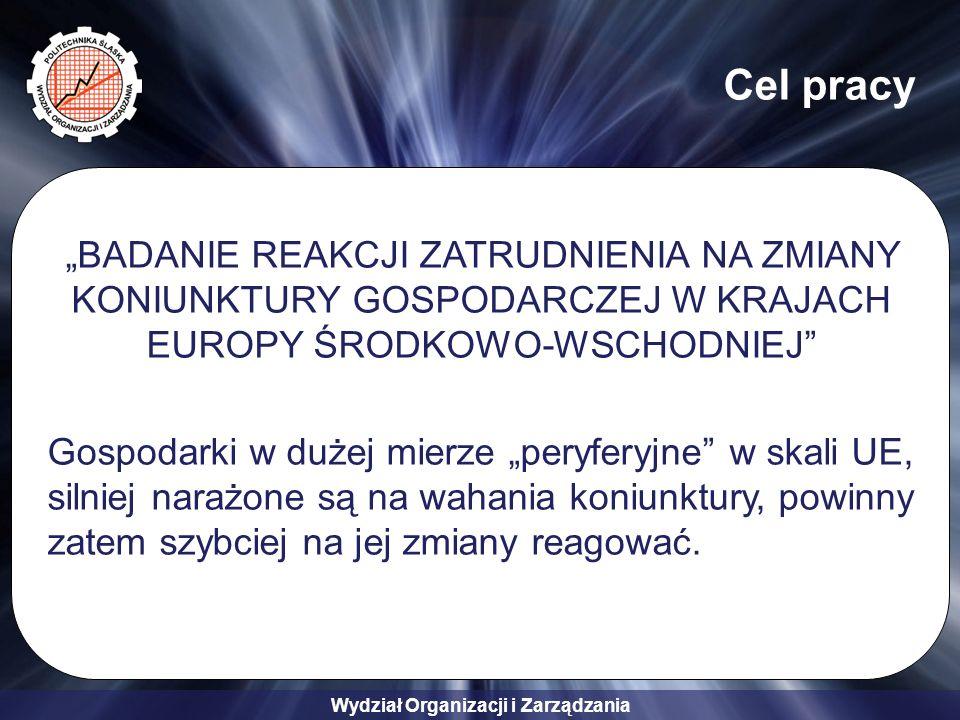 """Wydział Organizacji i Zarządzania Cel pracy """"BADANIE REAKCJI ZATRUDNIENIA NA ZMIANY KONIUNKTURY GOSPODARCZEJ W KRAJACH EUROPY ŚRODKOWO-WSCHODNIEJ Gospodarki w dużej mierze """"peryferyjne w skali UE, silniej narażone są na wahania koniunktury, powinny zatem szybciej na jej zmiany reagować."""