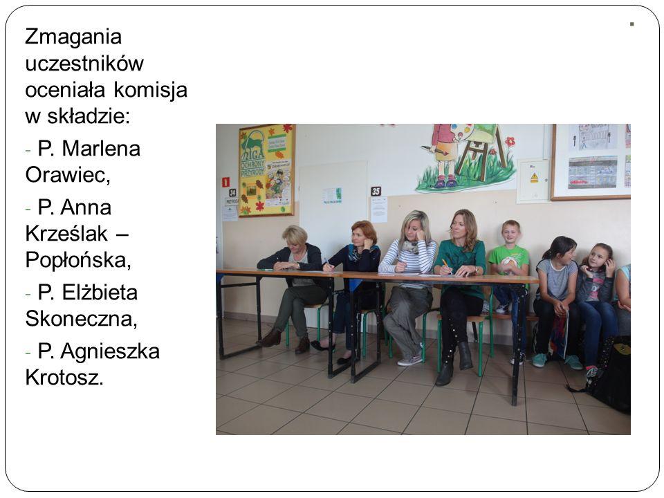 . Zmagania uczestników oceniała komisja w składzie: - P. Marlena Orawiec, - P. Anna Krześlak – Popłońska, - P. Elżbieta Skoneczna, - P. Agnieszka Krot
